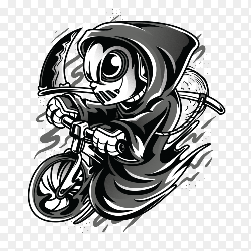 Reaper as biker with black and white illustration on transparent background PNG