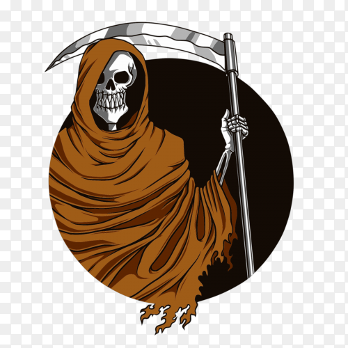 Reaper with Scythe Illustration on transparent background PNG