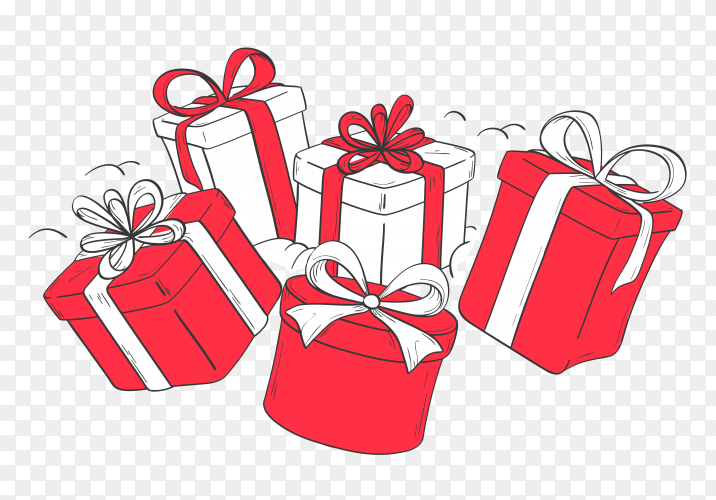 Red and white gifts box on transparent background PNG