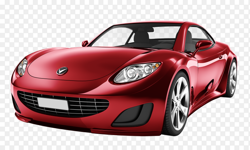 Red car on transparent background PNG