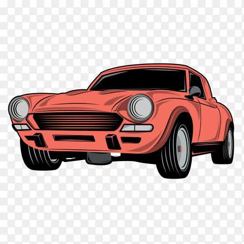 Red cartoon car premium vector PNG