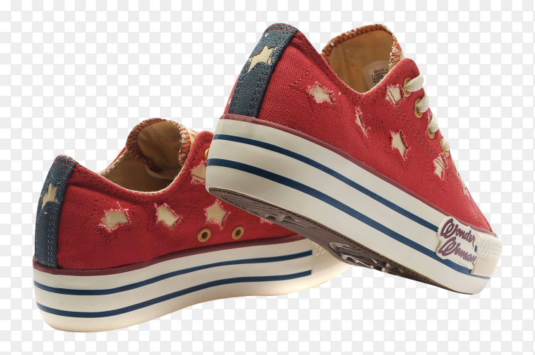 Red converse shose on transparent background PNG