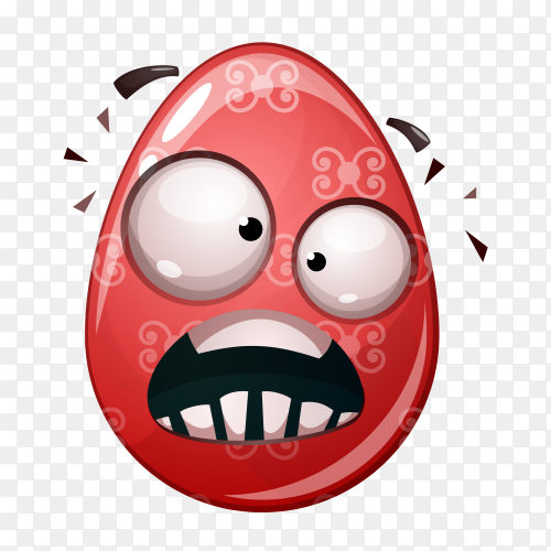 Red egg with hot face on transparent background PNG