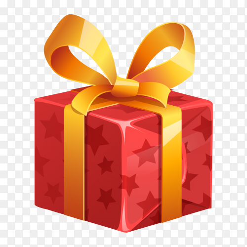 Red gift box with yellow bow premium vector PNG