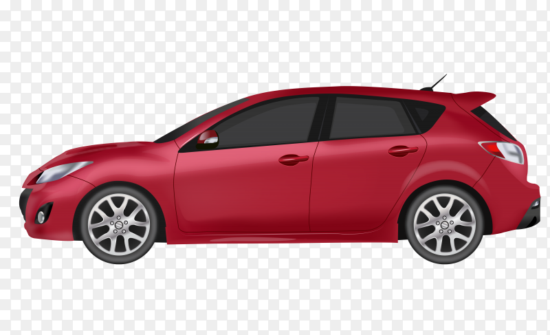 Red modern car design on transparent background PNG