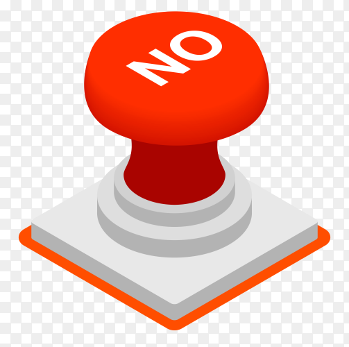 Red no button Premium vector PNG