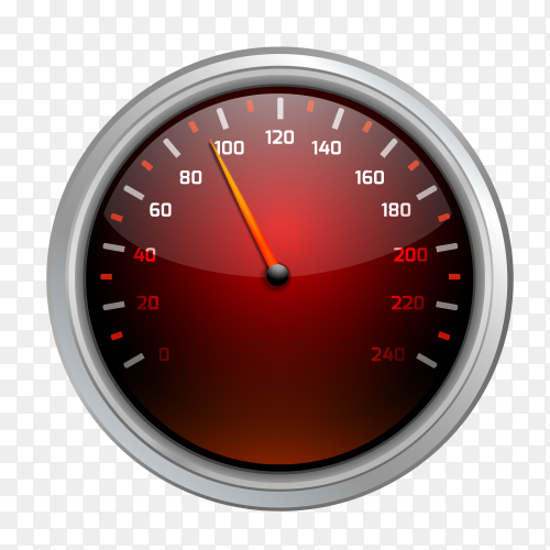 Red speedometer design clipart PNG