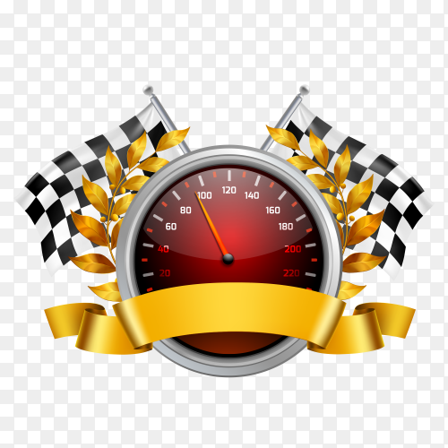 Red speedometer design with racing flags clipart PNG
