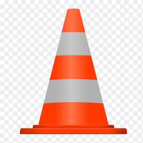 Orange traffic cone on transparent background PNG