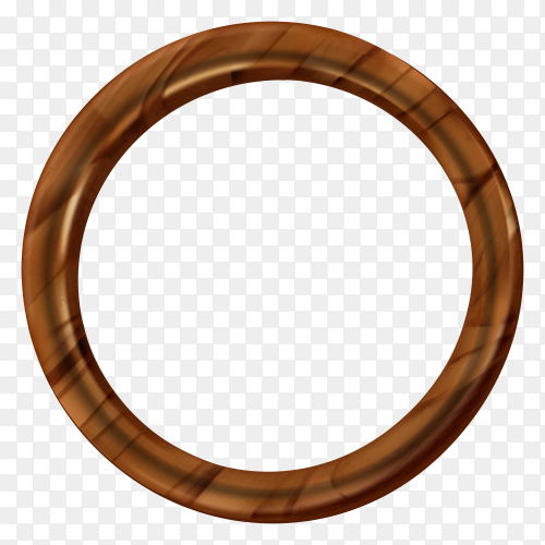 Round wooden picture frame on transparent background PNG