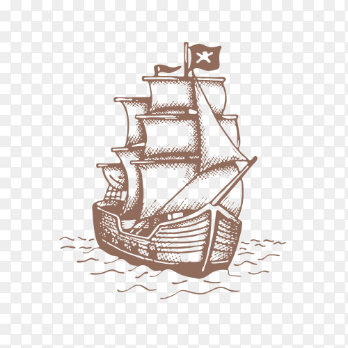 Sailing Ship Stock Illustration on transparent background PNG