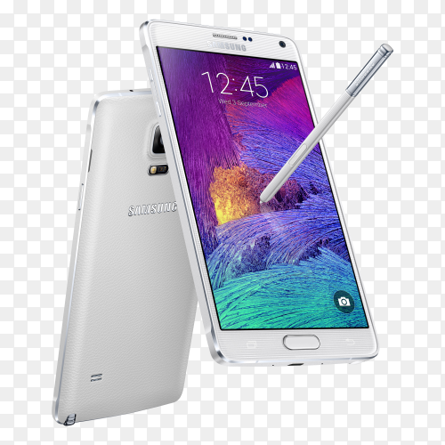 Samsung White Combination Pen smartphone mobile on transparent background PNG