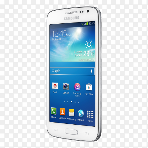 Samsung glaxy mobile phone on transparent background PNG