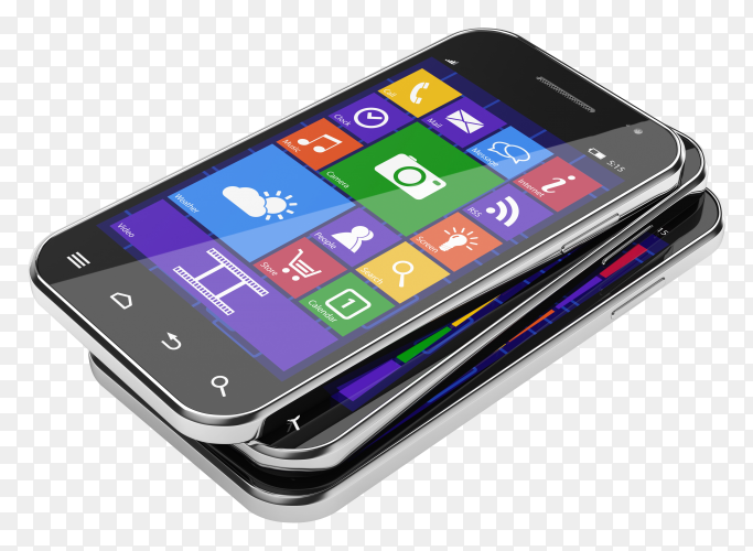 Samsung mobile phone on transparent PNG