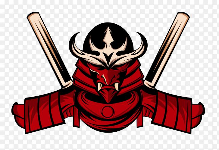 Samurai logo design template on transparent background PNG