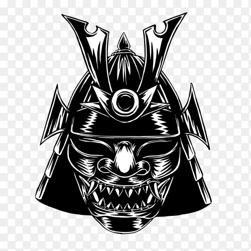 Samurai war mask illustration on transparent background PNG