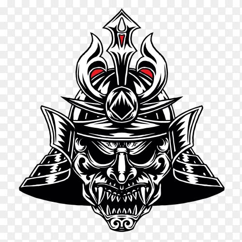 Samurai warrior war helm Premium Vector PNG