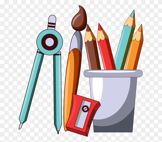 School elements collection on transparent background PNG