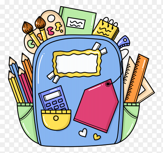 School essentials with backpack and colored pencils on transparent background PNG