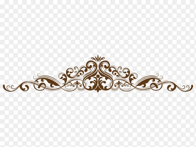 Set of hand drawn decorative floral on transparent PNG