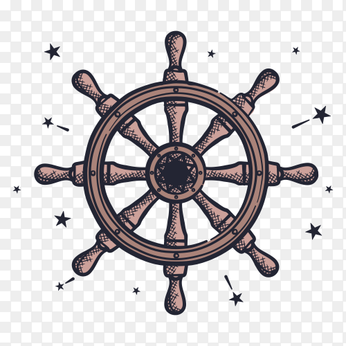 Ship wheel on transparent background PNG