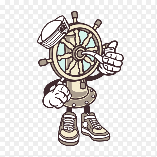 Ships Wheel Cartoon on transparent background PNG
