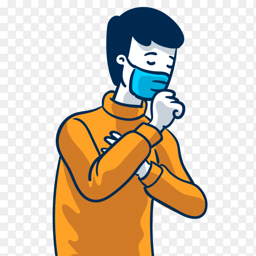 Sick man wearing mask on transparent background PNG
