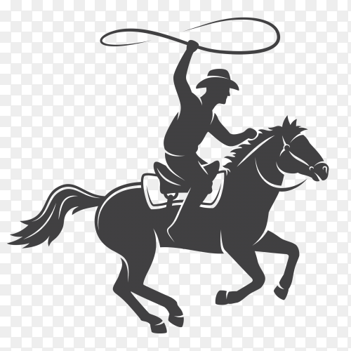 Silhouette cowboy riding horse on transparent backround PNG