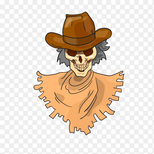 Skeleton Wear Hat and Traditional Clothes on transparent background PNG