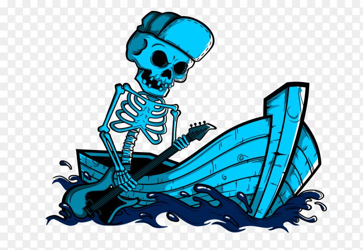 Skeleton on boat with guitar on transparent background PNG