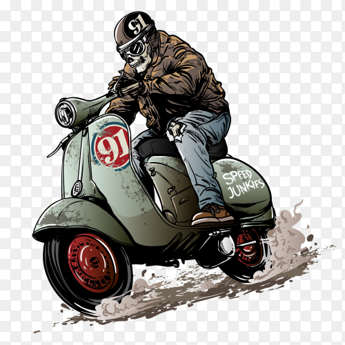 Skeleton riding on the motorcycle. Premium Vector PNG