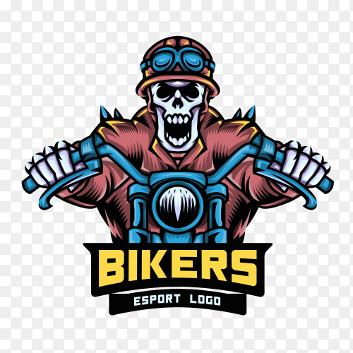 Skull Bikers Logo design on transparent background ONG