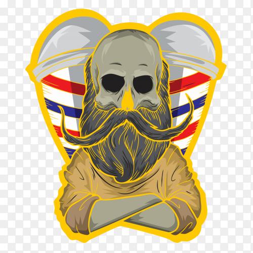 Skull barber logo on transparent background PNG