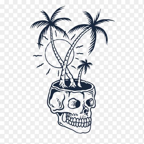 Skull beach tropical illustration on transparent background PNG