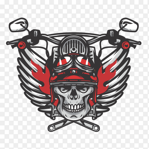 Skull bikers badge on transparent background PNG
