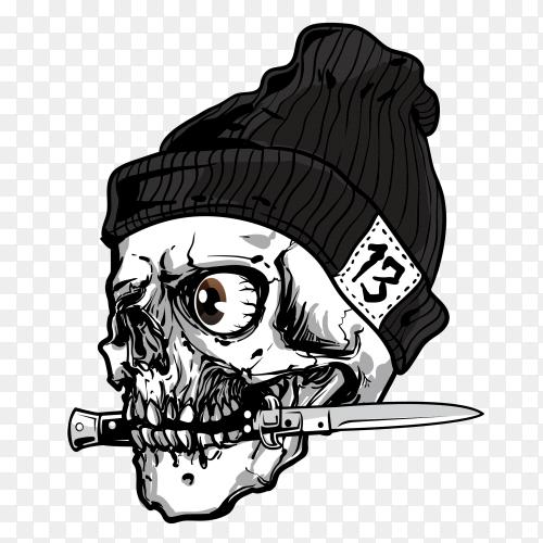 Skull bites the knife on transparent background PNG