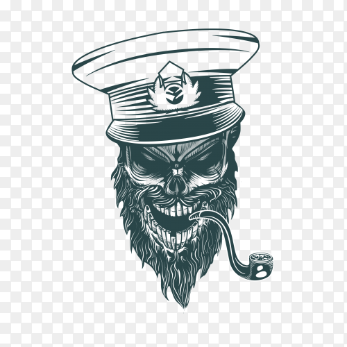 Skull captain with pipe premium vector PNG