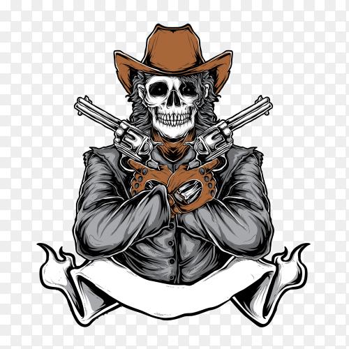Skull cowboy illustration on transparent background PNG