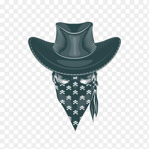 Skull cowboy mask on transparent background PNG