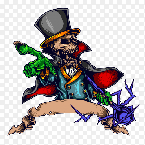 Skull magician character design on transparent background PNG