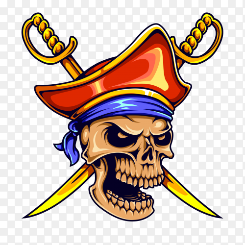 Skull pirate sword premium vector PNG