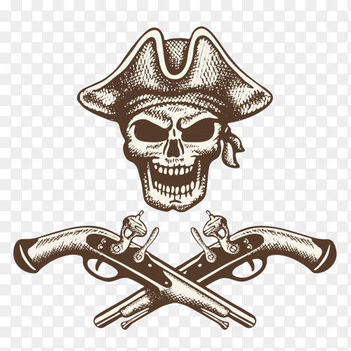 Skull pirate with crossed guns illustration Premium Vector PNG