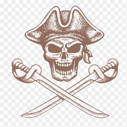 Skull pirate with crossed sword illustration Premium Vector PNG
