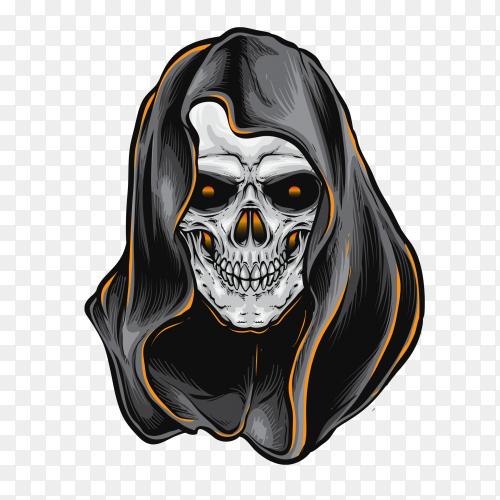 Skull reaper design on transparent background PNG