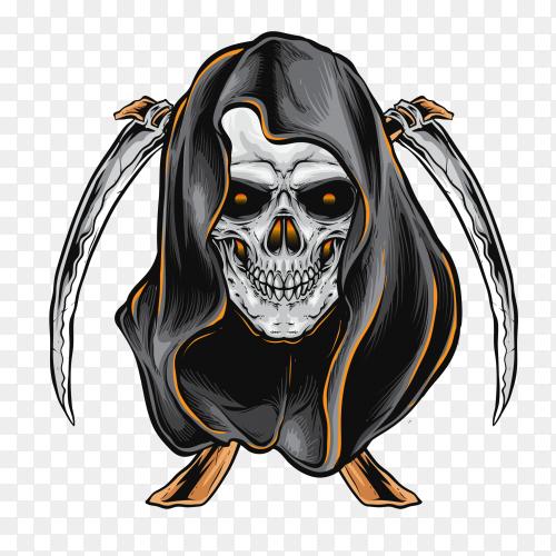 Skull reaper on transparent background PNG