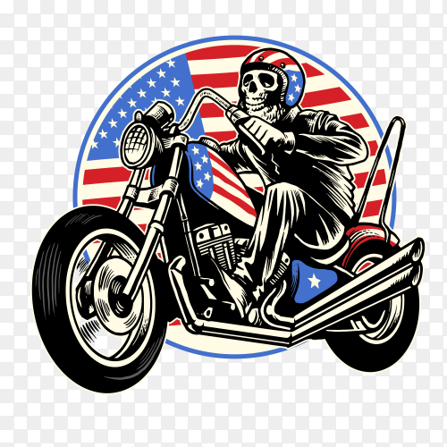 Skull ride motorcycle with american flag vector PNG