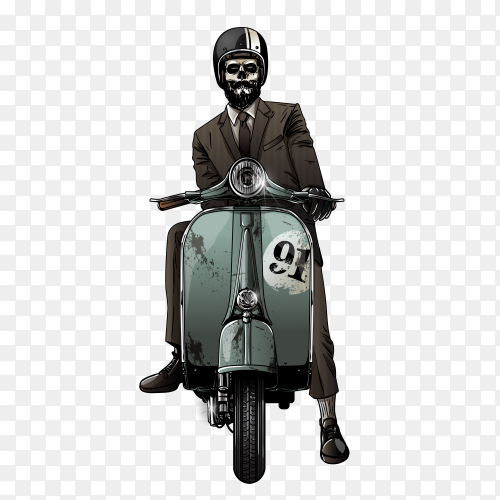 Skull riding motorcycle clipart PNG