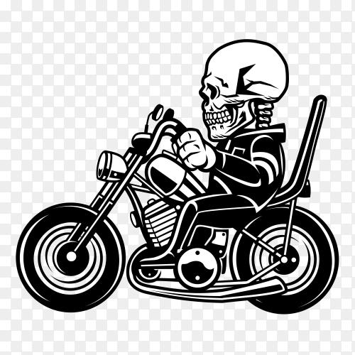 Skull riding motorcycle vetor PNG