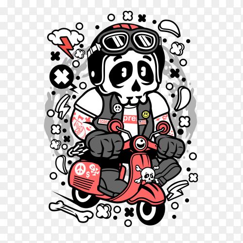 Skull rigind a motorbike on transparent background PNG