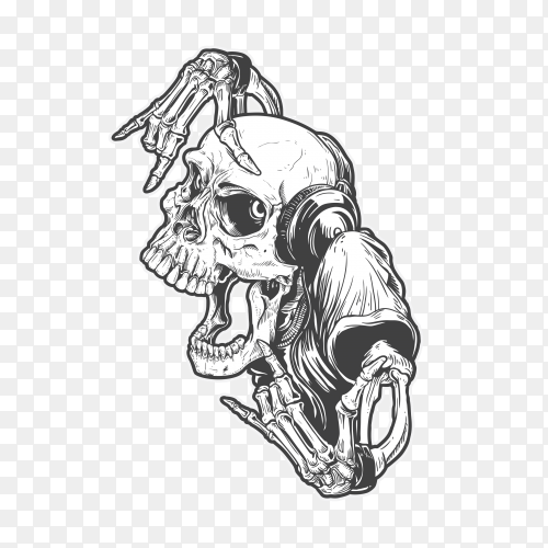 Skull rock party on transparent background PNG